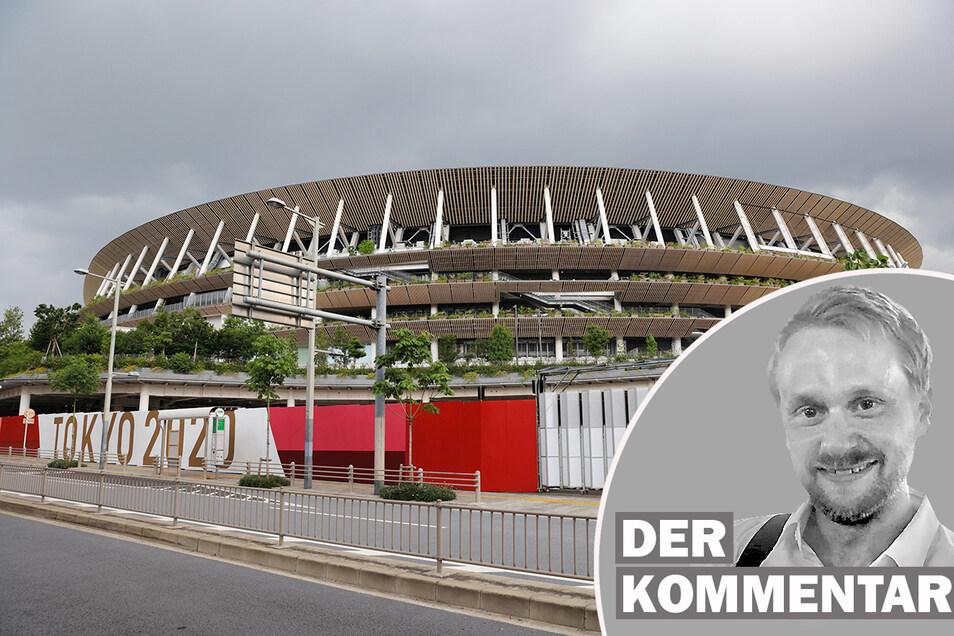 Dunkle Wolken hängen am Himmel über dem neuen Nationalstadion von Tokio. Ob und wie viele Zuschauer zu den Wettkämpfen kommen dürfen, ist weiter heftig umstritten.