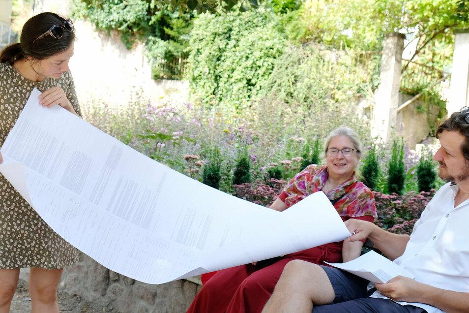 Daniel Bahrmann, Maria Fagerlund (l.) und Walfriede Hartmann organisieren das Meißner Literaturfest. Es sollte eigentlich im Juni stattfinden, musste aber wegen der Corona-Pandemie abgesagt werden. Nun wagen die Organisatoren einen neuen Anlauf.