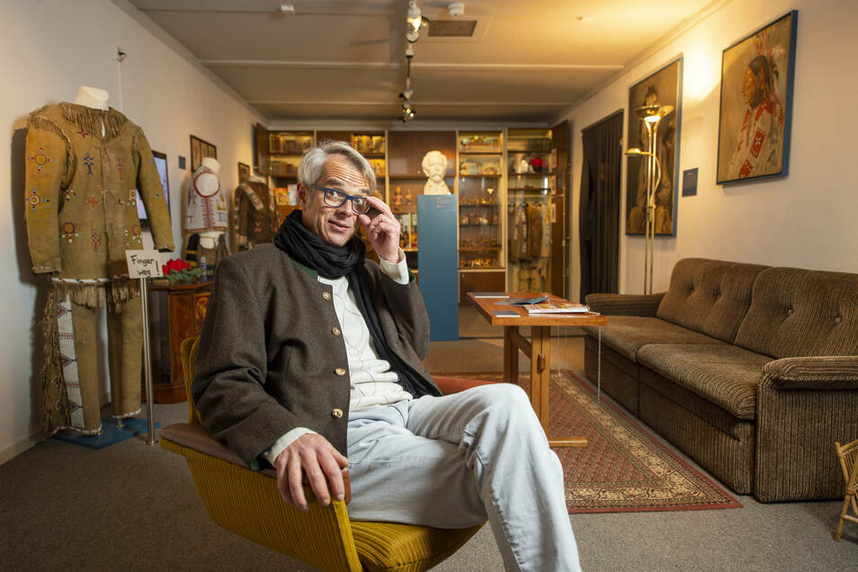 Christian Wacker leitet das Karl-May-Museum Radebeul nur noch bis 31. Mai. Der promovierte Archäologe hat einen neuen Vertrag.