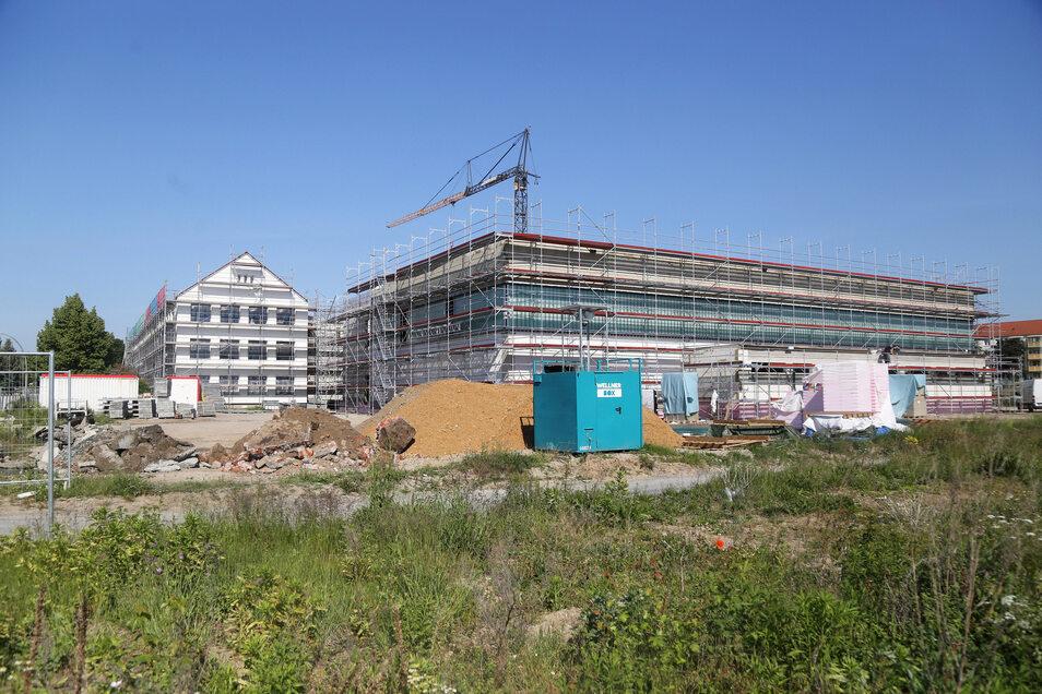 Blick auf die neue Turnhalle (rechts) und das frisch gemalerte und entkernte Haupthaus (l.) der Schule Am Merzdorfer Park. Seit Anfang 2019 laufen die Arbeiten.