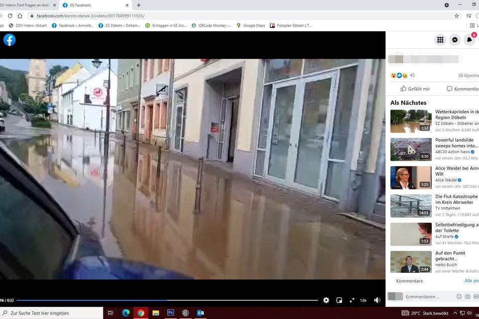 Der Obermarkt in Waldheim ist am Sonnabend zeitweise überflutet gewesen. Größere Schäden sind jedoch nicht entstanden.