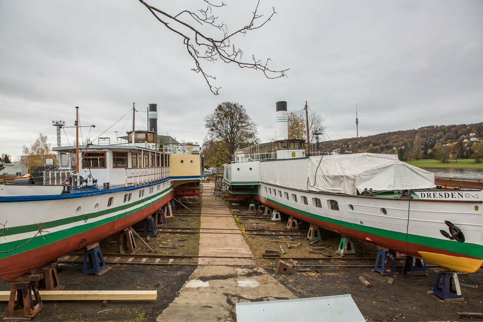 Sie sind aufeinander angewiesen: Die Dampfer auf die Werft und die Werft auf die Dampfer. Im Bild die Laubegaster Werft.
