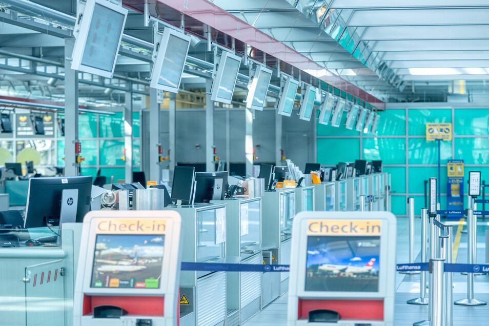 Der menschenleere Flughafen Dresden.