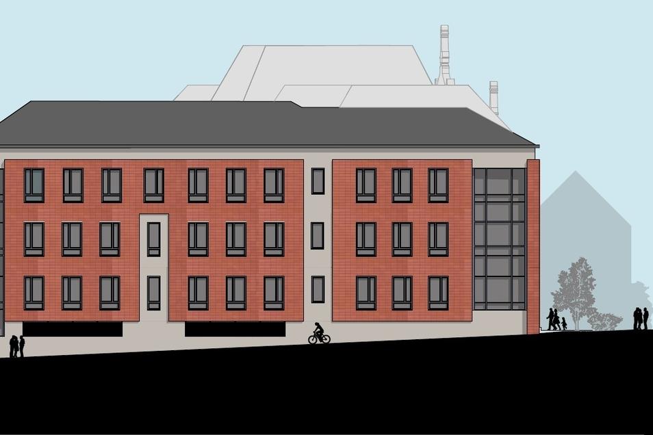 So soll das neue Schulhaus aus Richtung Max-Müller-Straße aussehen.