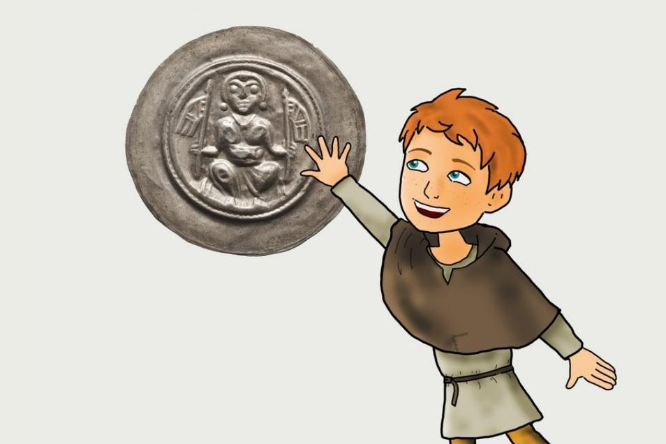 Hier zeigt Frieder, der Begleiter für Kinder durch das Dippser Miberz-Museum eine Münze, die aus dem Silber geprägt wurde.