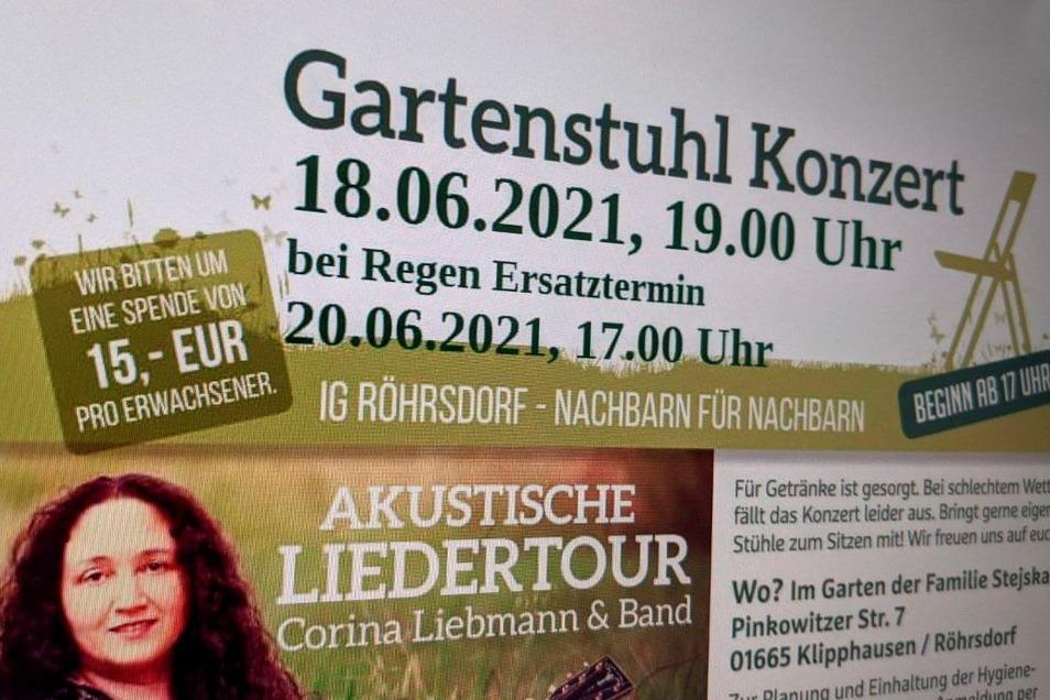 Ein Gartenstuhlkonzert ist in Röhrsdorf geplant.