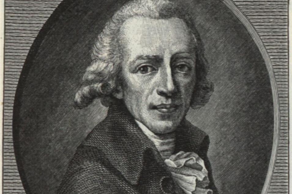 August Gottlieb Meißner (1753 – 1807) in einem Kupferstich von Christian Gottlob Scherf (Ausschnitt).