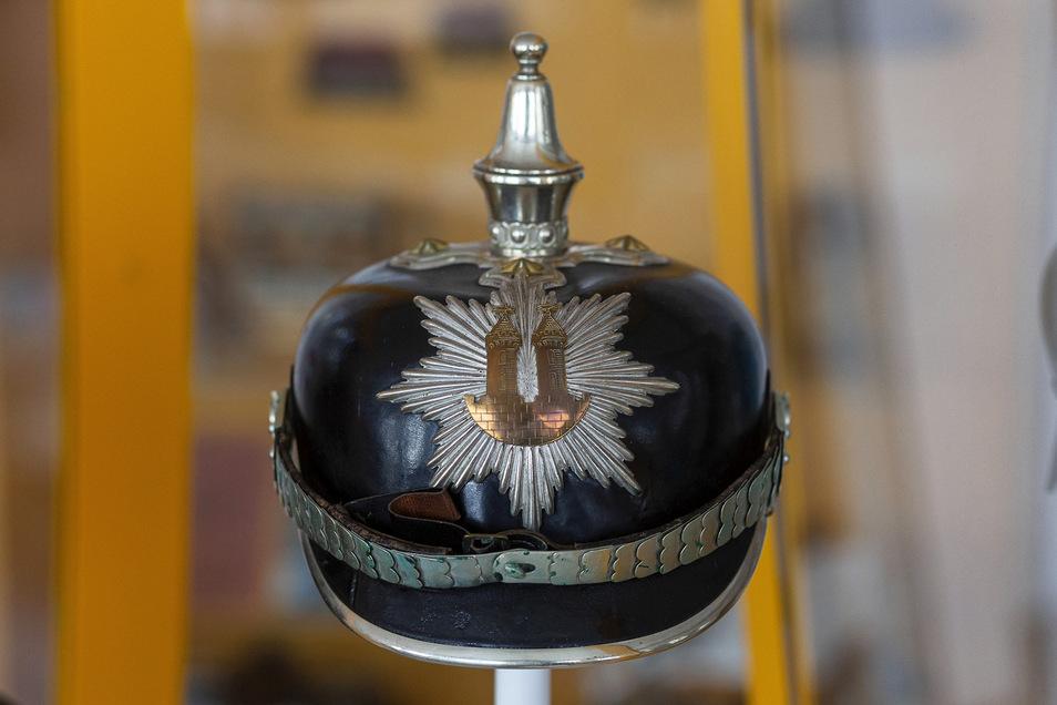 Diese Pickelhaube mit dem Wilsdruffer Stadtwappen trug Stadtwachtmeister Max Phillip im Auftrag der Stadt Wilsdruff von August 1898 bis August 1918.