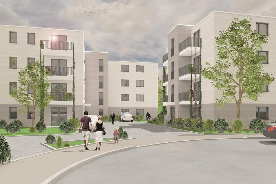 An der Grenze von Gorbitz und Neu-Omsewitz werden zwei Viergeschosser mit 26 Wohnungen gebaut. Sie sollen Ende kommenden Jahres fertig sein.