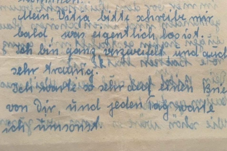 Auszug aus dem vermutlich letzten Brief, den Iwan Pawlowitsch Wigerjaw von seiner deutschen Geliebten Christina bekommen hat, abgeschickt in Görlitz im Januar 1950.