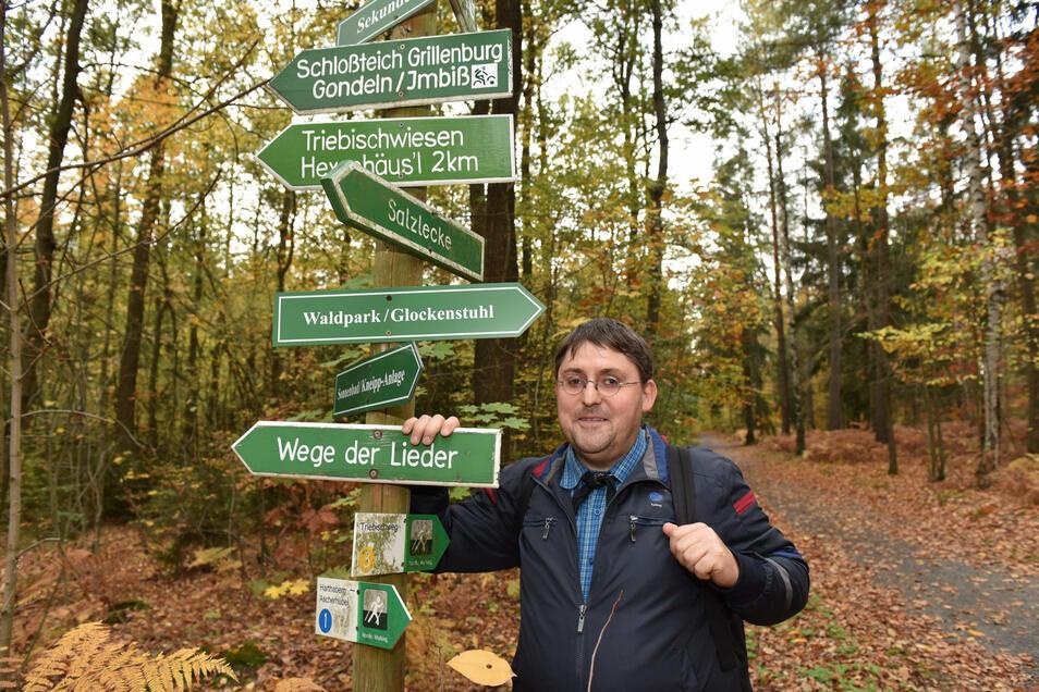 Zu entdecken gibt es im Tharandter Wald viel. Kreiswanderwegewart André Kaiser setzt sich dafür ein, dass die Ausflugsziele auch gefunden werden. Es ist ein aufwendiges Ehrenamt.