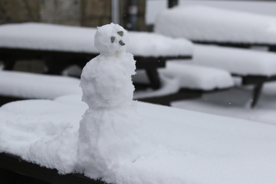 Ein Schneemann steht auf einem Tisch auf dem Brocken.
