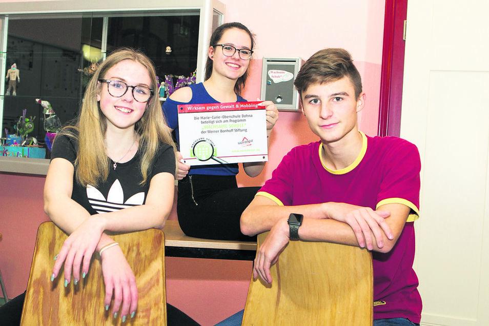 """Tafel und Briefkasten: Lisa Scheffler, Tim Hansel (vorn) und Ayleen Walther mit den beiden wichtigen äußeren Zeichen für Dohnas """"Wachsame Schule""""."""