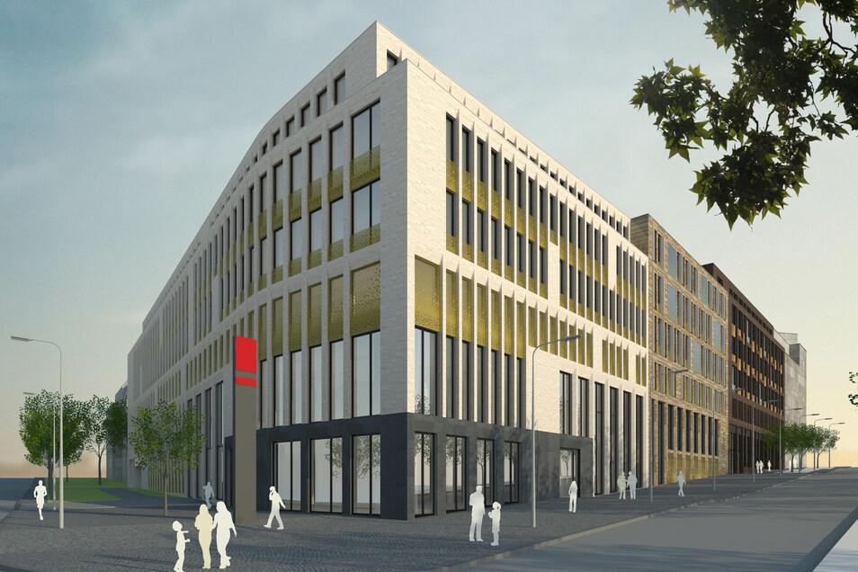 So soll der Neubau auf dem spitz zulaufenden Grundstück am Fritz-Löffler-Platz aussehen.