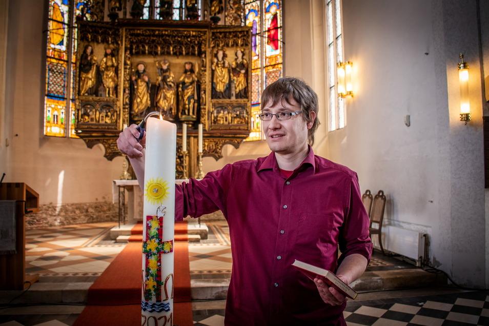 Markus Preiser ist am vorvergangenen Sonntag in der Nicolaikirche in Döbeln ordiniert worden. Neben seiner Tätigkeit in den Schwesterkirchgemeinden ist er auch als Jugendpfarrer tätig.
