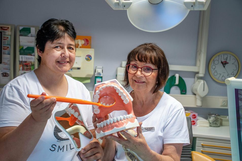 Karin Hedrich (links) übernimmt zum September 2020 die Praxis samt Patienten von Zahnärztin Regine Reiche. Diese geht mit 69 Jahren in den Ruhestand.