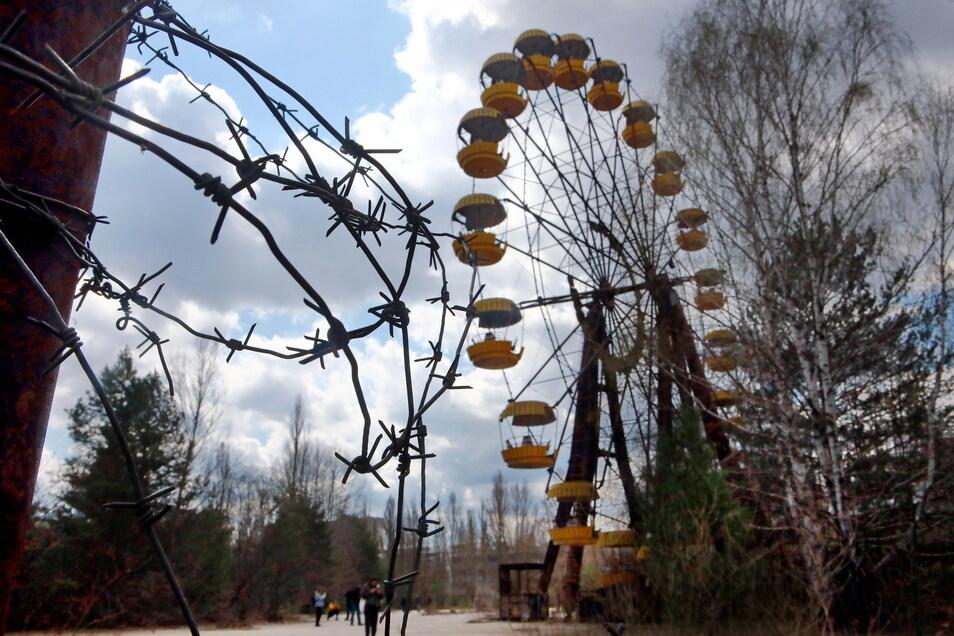 Das ikonische Riesenrad befindet sich im Vergnügungspark in der Geisterstadt Prypiat.