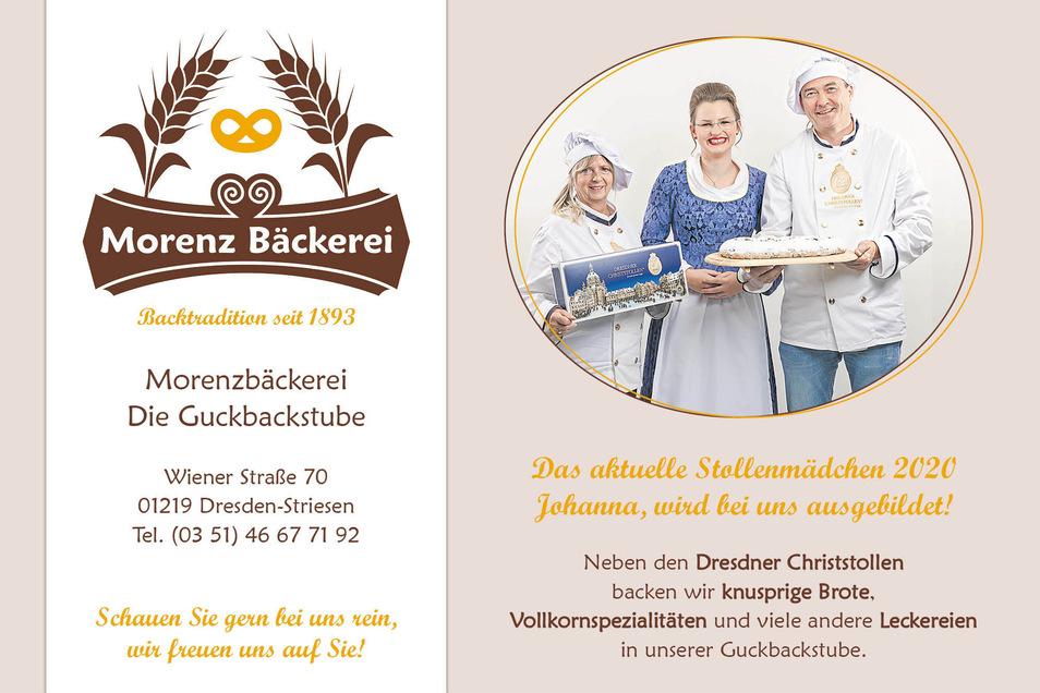 """Den heutigen Tagespreis, einen original Dresdner Christstollen, stellt die Morenz Bäckerei. Bei dem Dresdner Traditionsunternehmen wird auch das aktuelle Stollenmädchen 2020 """"Johanna"""" ausgebildet."""
