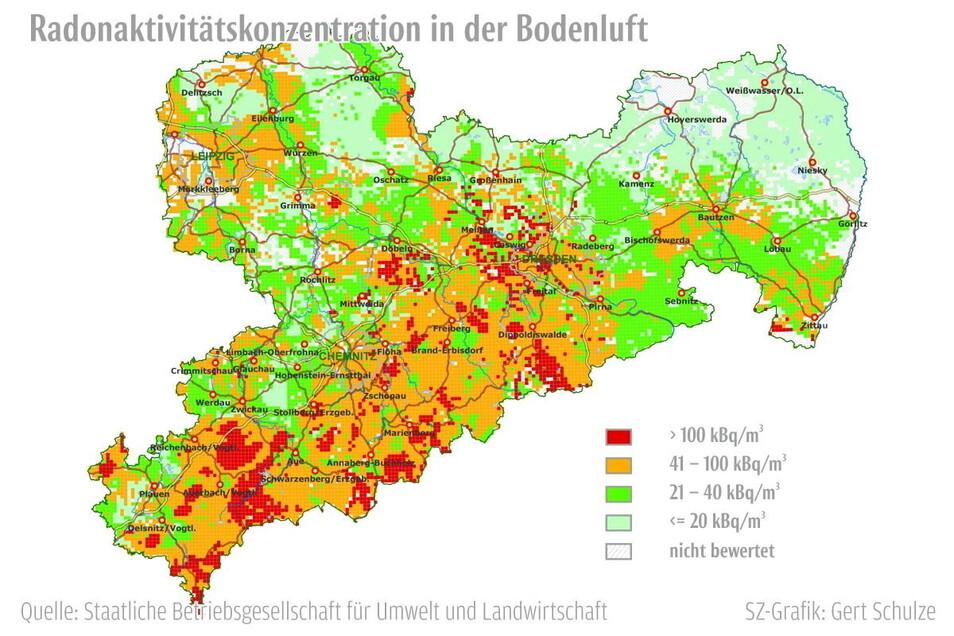 Die Karte zeigt klar: Im Erzgebirge ist die Radonbelastung hoch, Schwerpunkte liegen im West- und im Osterzgebirge.