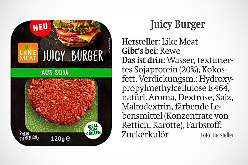 Juicy Burger kann man bei Rewe kaufen.