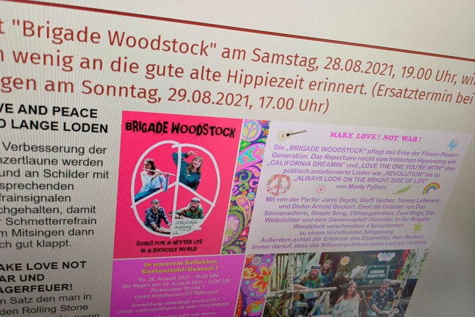 Ankündigung des Gartenstuhlkonzerts auf der Website der IG Röhrsdorf.