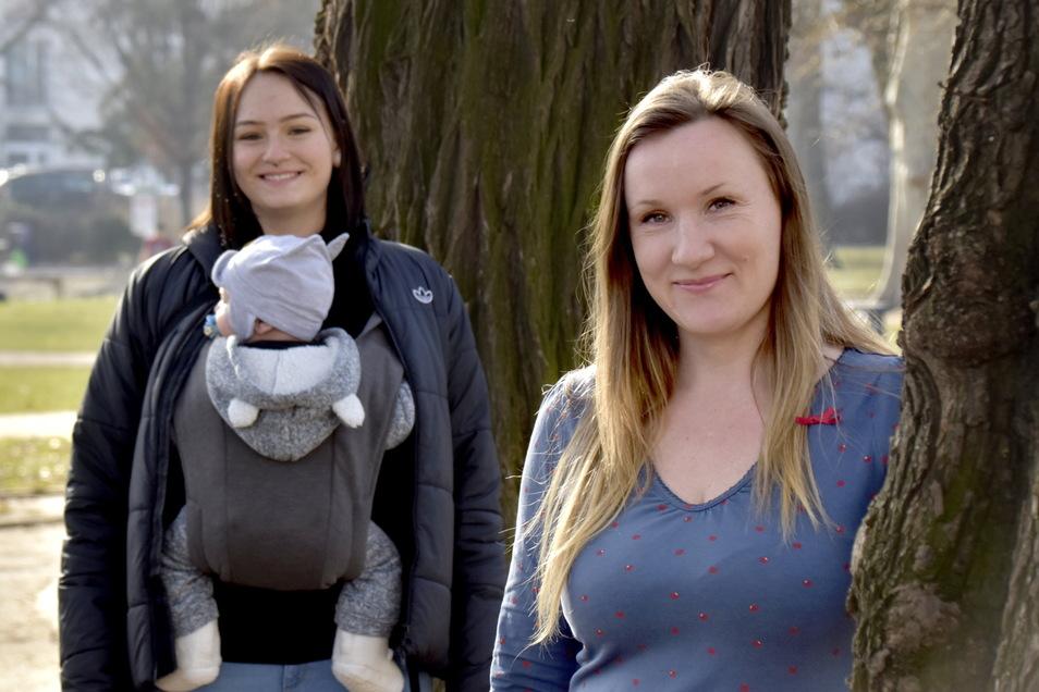 Familienpatin Linda Lehmann (r.) kümmert sich seit einem Jahr um Nadine Hempel und begleitete ihre Schwangerschaft.
