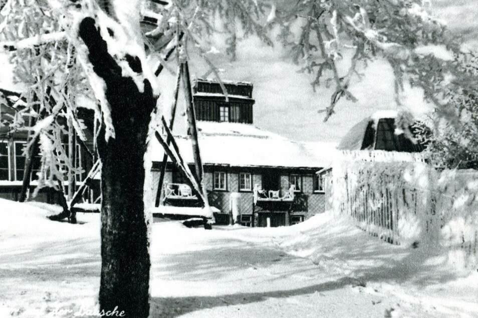 Die Lauschebaude im Winter 1928/1929. Damals war sie im Besitz von Alma Goldberg aus Warnsdorf. Sie war die Tochter von Alwin Weickert, der das Gasthaus von 1878 bis 1925 führte.