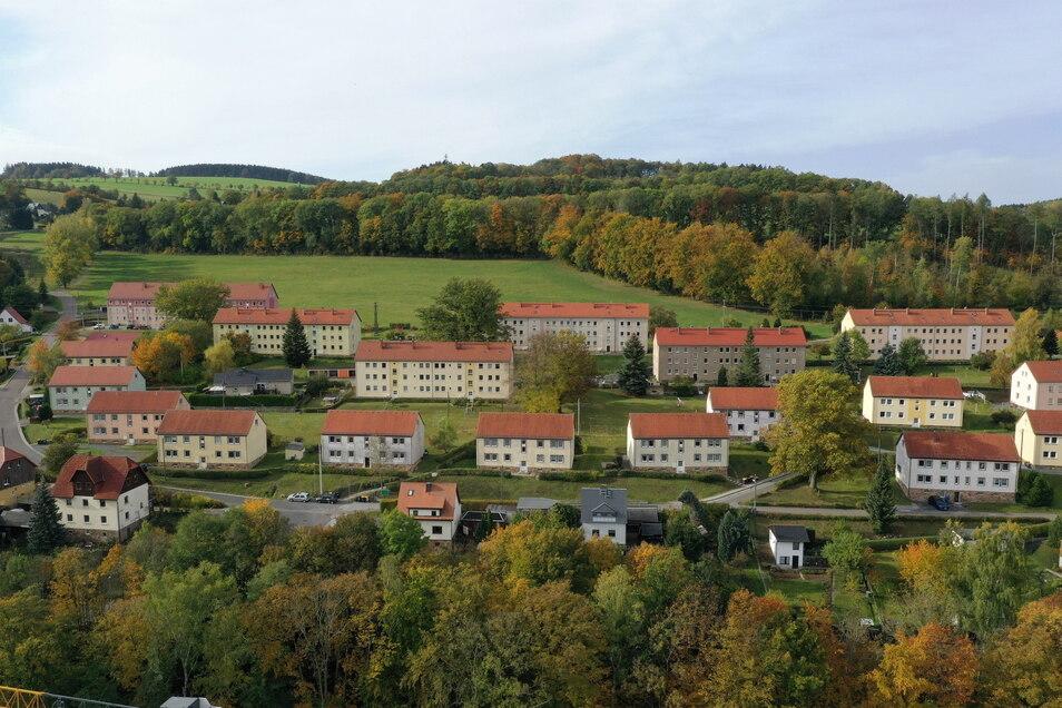 So aus der Luft aufgenommen, sieht die Siedlung in Naundorf nach einer idyllischen Wohnlage aus. Aber die Stadt Dipps hat mit ihrem Wohnungsbestand hier große Probleme.