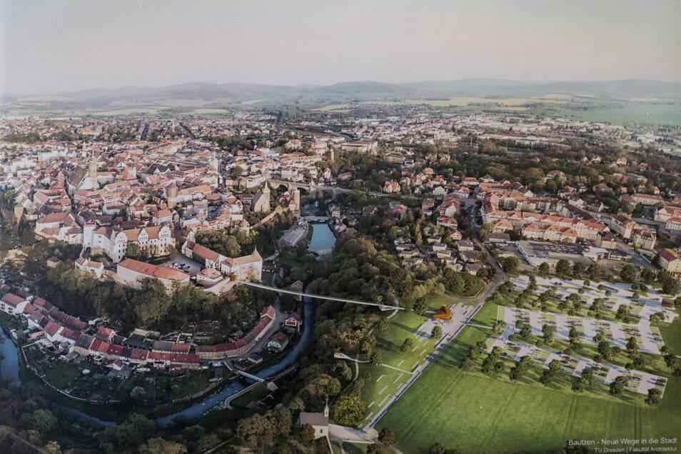 Auf direktem Wege vom Protschenberg zur Ortenburg: Das ist der Ziel der geplanten neuen Spreequerung in Bautzen. Für die Ausführung gibt es verschiedene Ideen.