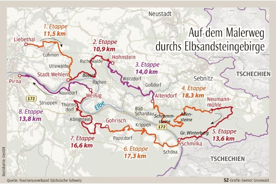 Der Malerweg verbindet auf 116 Kilometern die schönsten Orte der Sächsischen Schweiz.