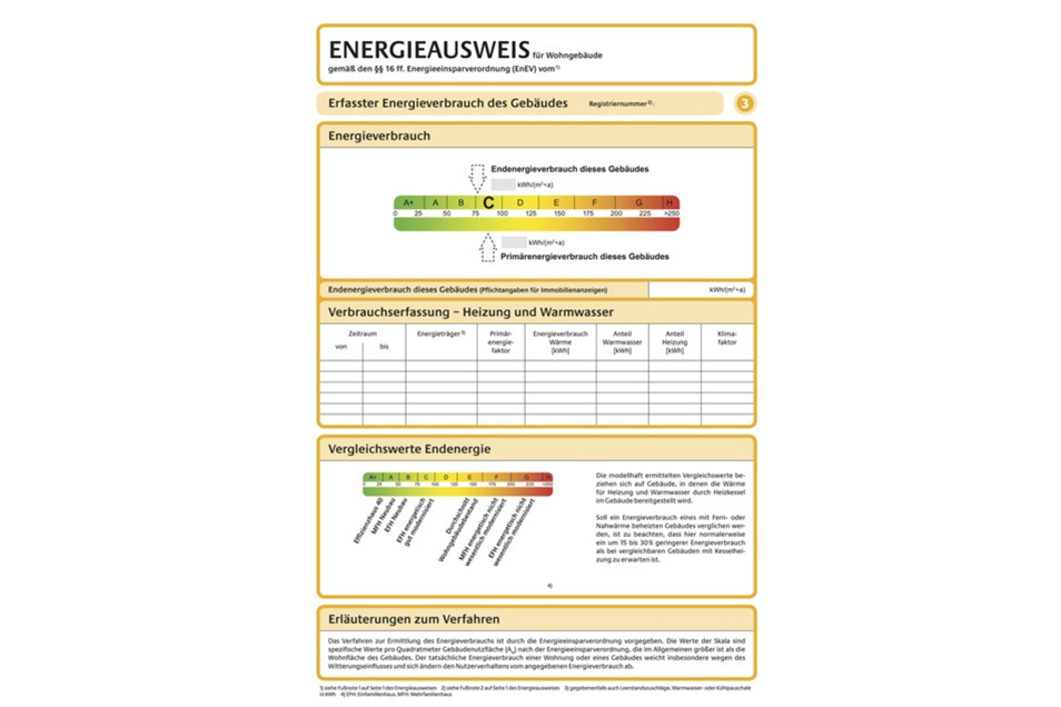 Mit dem Energieausweis lässt sich der Energieverbrauch eines Gebäudes besser einschätzen.