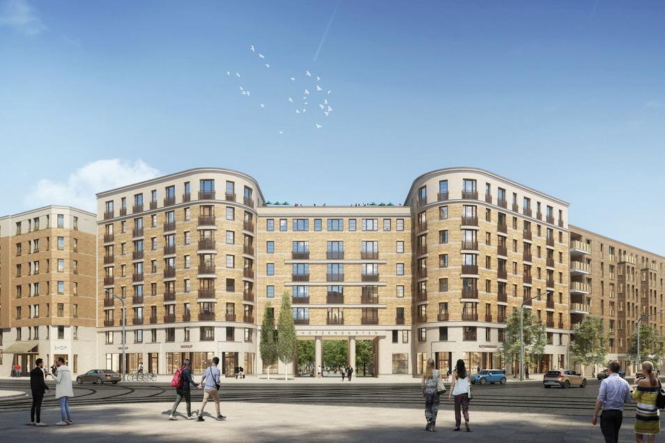 An der Ecke von Könneritz- und Jahnstraße entsteht das Torhaus, in dem 80 Wohnungen für Senioren vorgesehen sind. Das Gebäude bildet den Eingang zum neuen Quartier.