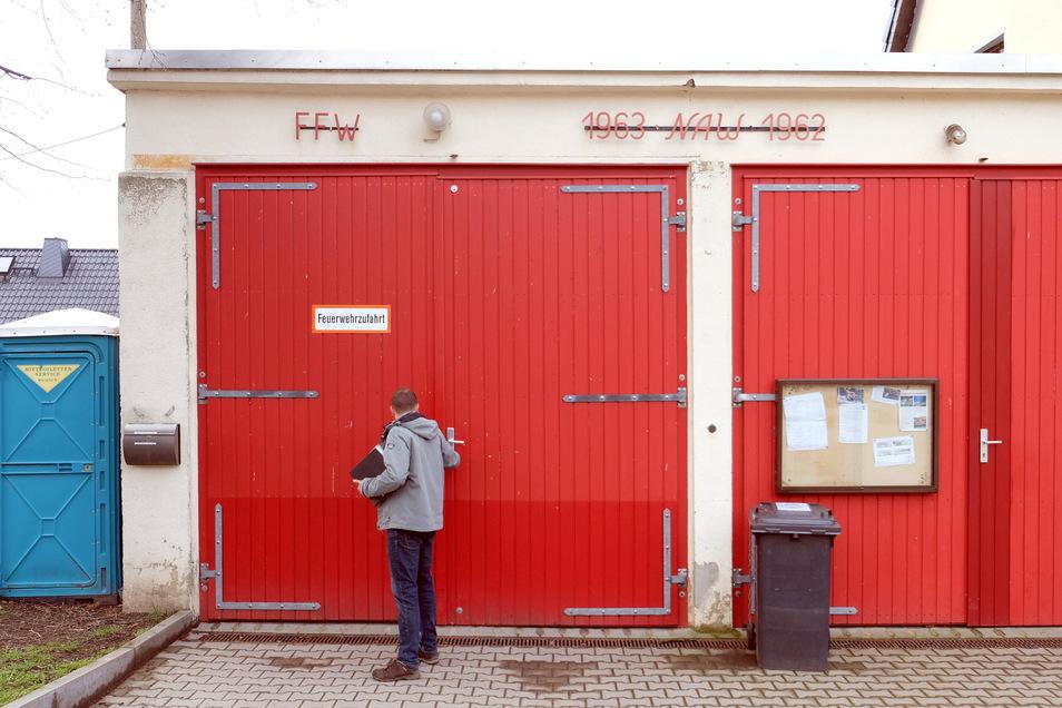 Noch müssen die Heynitzer Feuerwehrleute mit einer Garage vorliebnehmen.