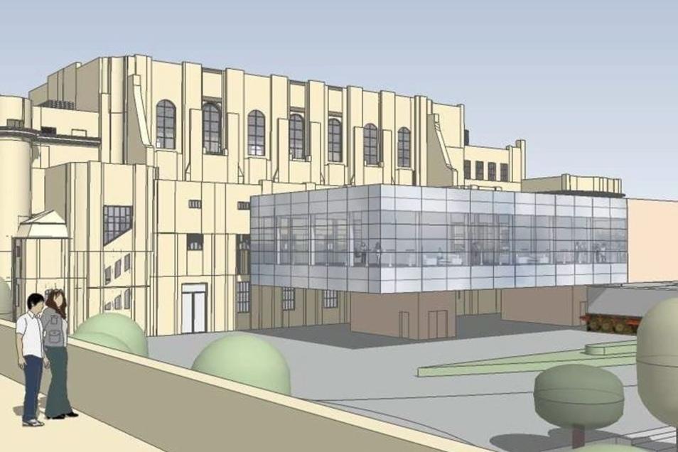 So sieht ein Entwurf für den geplanten Anbau an der Stadthalle aus.