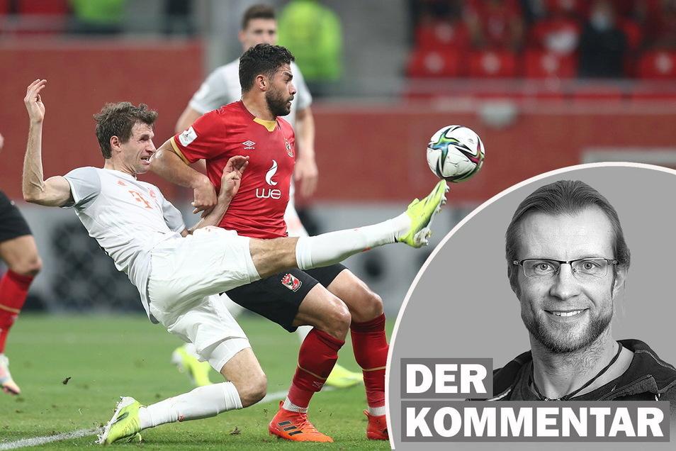 Am Montag bestritt Thomas Müller (l.) mit Bayern München in Katar das Halbfinale der Fifa-Klub-WM gegen den ägyptischen Vertreter Al Ahly Kairo.
