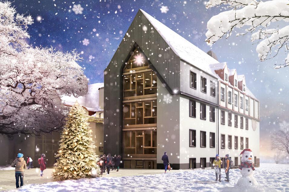 So könnte der künftige Anbau der Wilsdruffer Oberschule nach seiner Fertigstellung an einem verschneiten Wintertag aussehen.