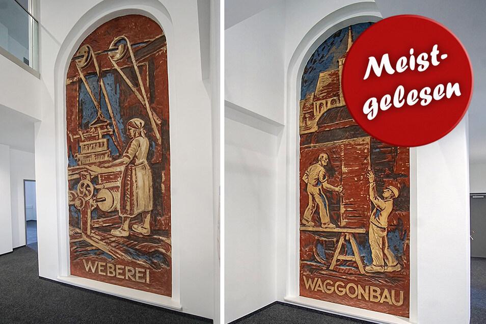Die historischen Wandbilder im Bautzener Bahnhof sind nach dem Zweiten Weltkrieg entstanden. Sie wurden von dem Künstler Alfred Herzog geschaffen und symbolisieren traditionelle Handwerke der Region.