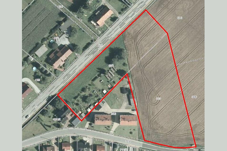 Auf der Fläche zwischen Gleinaer und Guttauer Landstraße würde André Kunath gern einen Diska-Markt samt großem Parkplatz und eine Reihe von Eigenheimgrundstücken entwickeln.