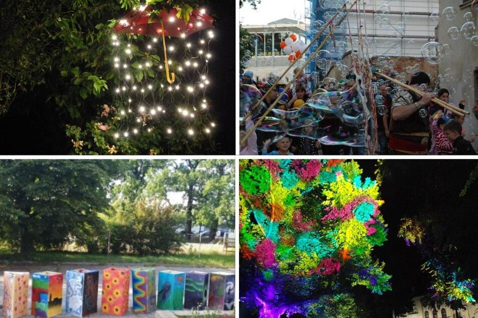 """Einige der gebotenen Programmpunkte bei """"Ring on Feier"""": Ein Regenschirmhimmel, Riesenseifenblasen und Lampionumzug, bunte Laternen sowie eine farbenfroh-angestrahlte Platane."""