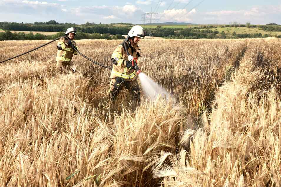 Die Einsatzkräfte konnten das schlimmste verhindern. Dennoch wurde jede Menge Getreide durch den Brand vernichtet.