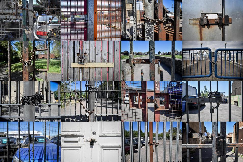 Dieses Foto zeigt verschlossene Tore von Unternehmen und Gebäuden, die wegen der Corona-Krise nicht geöffnet sind. Doch Bund und Freistaat setzten die Signale auf vorsichtige Lockerung ab nächster Woche.