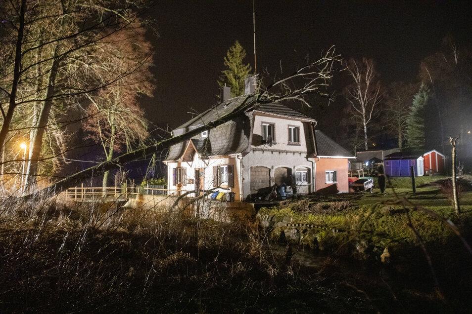 Ein Baum ist am Sonntag auf ein Hausdach in Schlettau (Erzgebirgskreis) gefallen. Die Feuerwehren Schlettau und Buchholz waren im Einsatz.