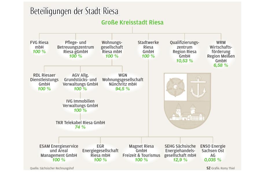 """Die Grafik zeigt den """"Konzern"""" Stadt Riesa mit seinen Tochter- und Enkelunternehmen."""