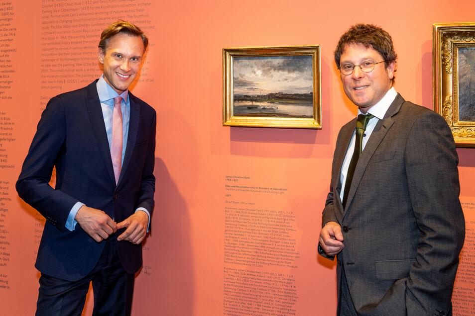 Rückgabe des Dahl-Gemäldes an Cottbus besiegelt: Stiftungsvorstand Stefan Körner (links) und der Hamburger Kunsthallen-Direktor Alexander Klar.