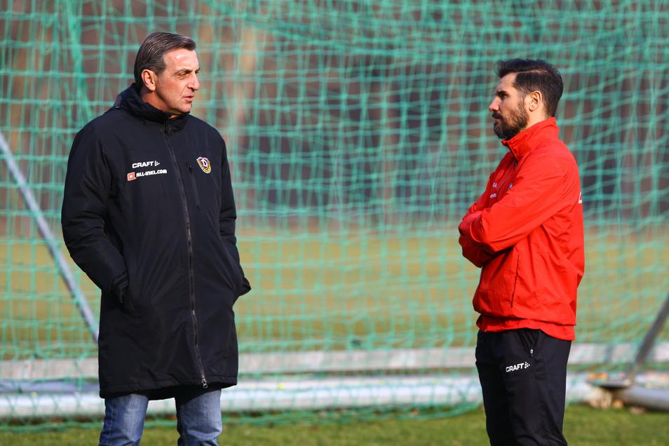 Ralf Minge (l.) hatte Cristian Fiel zu seinem Trainer-Projekt erklärt, ihn im Februar 2019 zum Chefcoach befördert. Doch nicht mal zehn Monate später erfolgte die Trennung - für den Sportchef auch eine persönliche Niederlage.