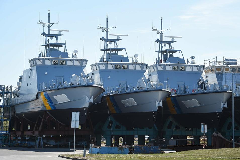 Deutsche Patrouillenboote die an Ägypten verkauft wurden. Die Bundesregierung hat im Jahr 2020 Rüstungsexporte für mehr als eine Milliarde Euro an Länder genehmigt, die in die Konflikte im Jemen oder in Libyen verwickelt sind.
