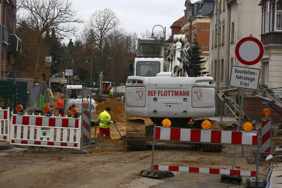 Blick auf die Baustelle  Dr.-Rudolf-Friedrichs-Straße