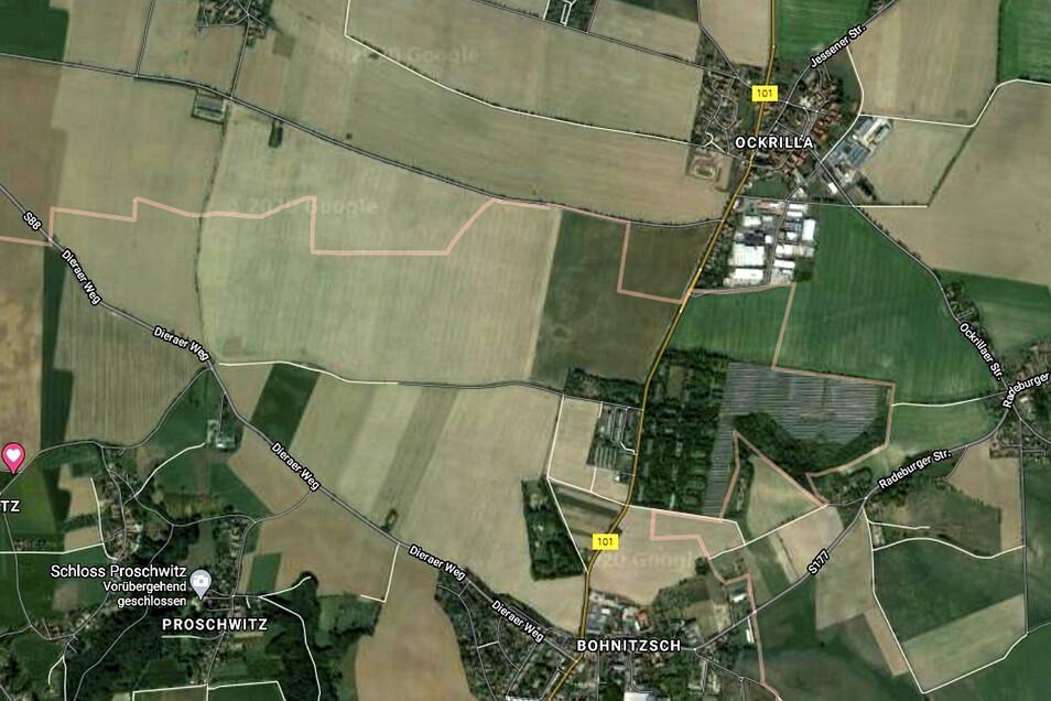 Die Fläche in Meißen-Bohnitzsch, die auf ihre Eignung als Gewerbegebiet untersucht werden soll, lässt sich auf diesem Kartenausschnitt zwischen dem B von Bohnitzsch und dem D von Dieraer Weg bis hinauf zum Gelände des Internationalen Gartens eingrenzen. D