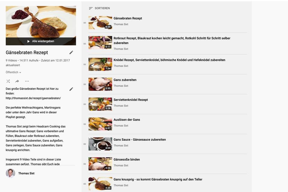 Gänsebraten zubereiten zeigt Thomas Sixt auf Youtube mit 9 Kochvideos.