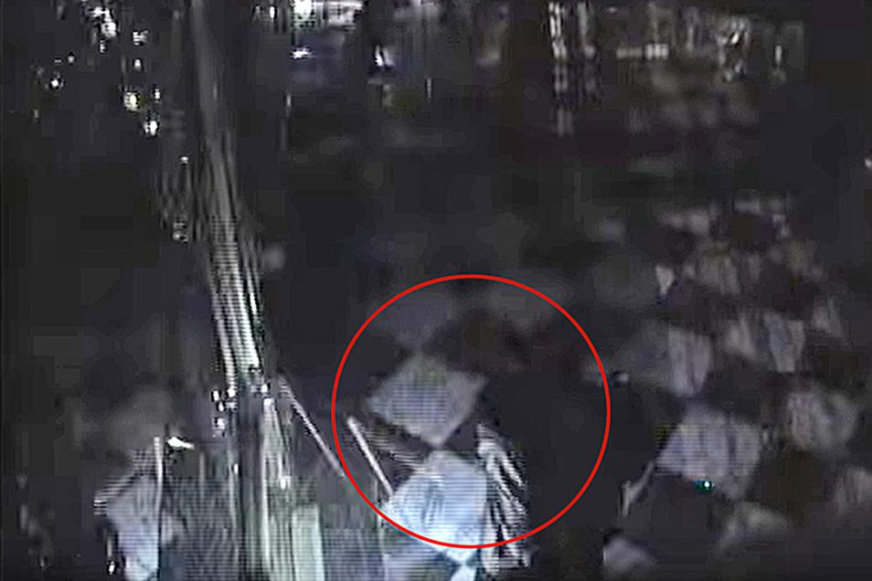 Ein Screenshot des Überwachungsvideos zeigt wie einer der Täter mit einer Axt die Vitrine im Juwelenzimmer des Grünen Gewölbes zerschlägt. Als Zeit ist kurz vor 4.58 Uhr angegeben, die Aufnahme dauert 31 Sekunden.